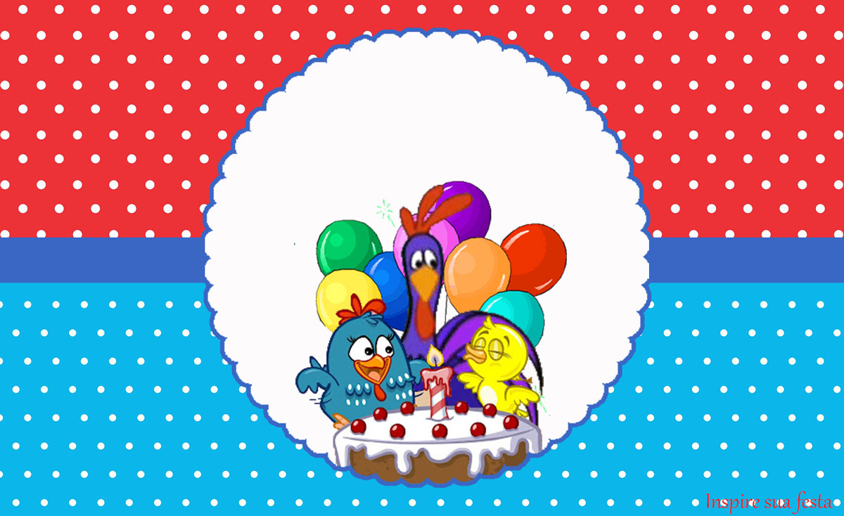Galinha Pintadinha Vermelho e Azul – Kit festa infantil grátis para imprimir