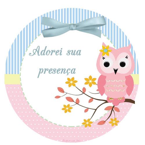 Tag ou topper para docinho e cupcake Corujinha Rosa
