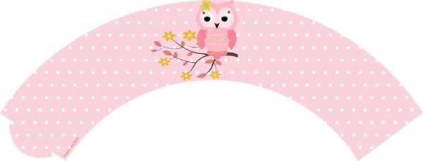 Saia para cupcake Corujinha Rosa