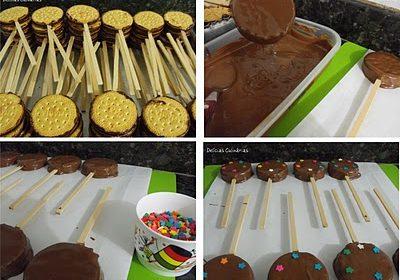 Como fazer Pirulitos de biscoito com cobertura de chocolate – Receita e passo a passo