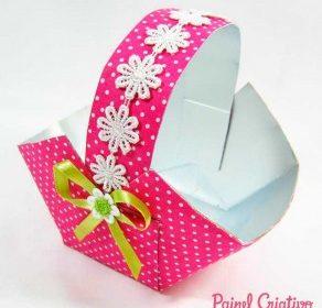 Como fazer Cestinha decorada com tecido e caixa de suco