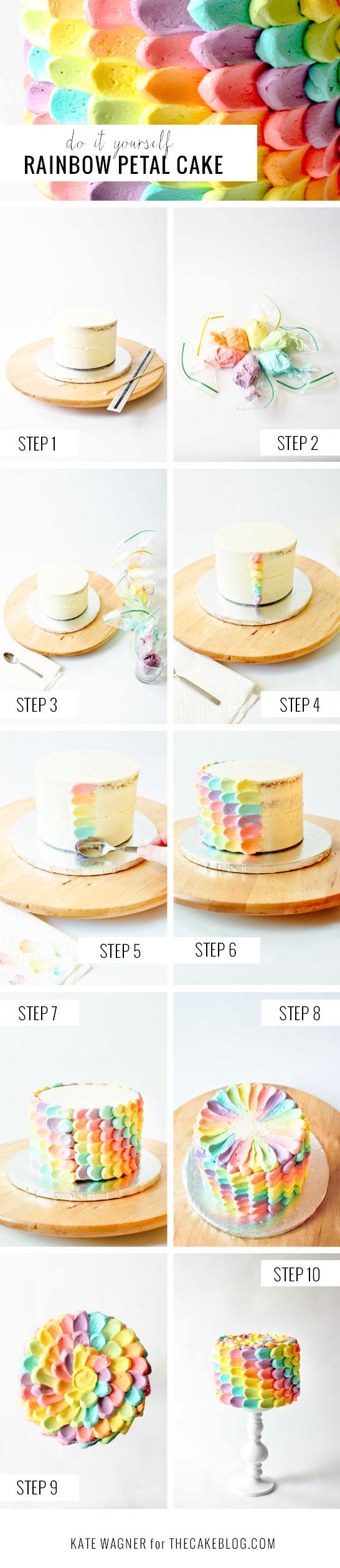 bolo em escamas coloridas