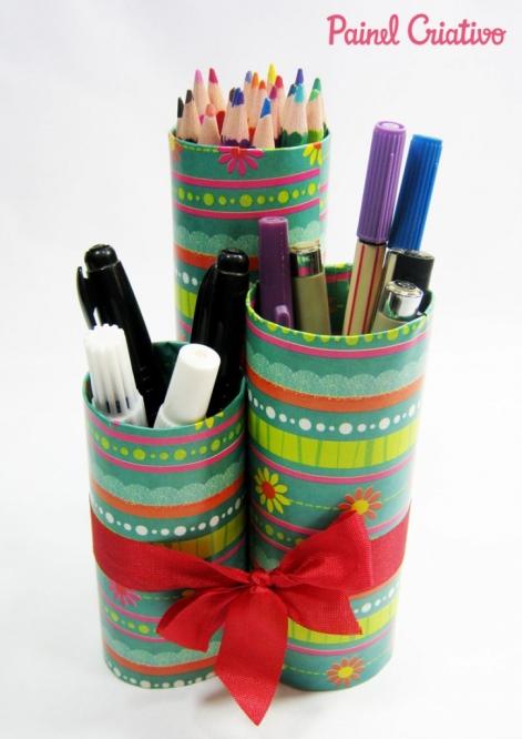 porta lapis com tubos de papelao 1