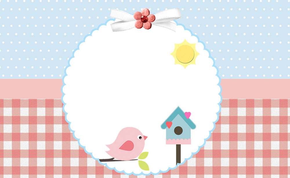 Passarinho azul e rosa – Kit festa infantil grátis para imprimir
