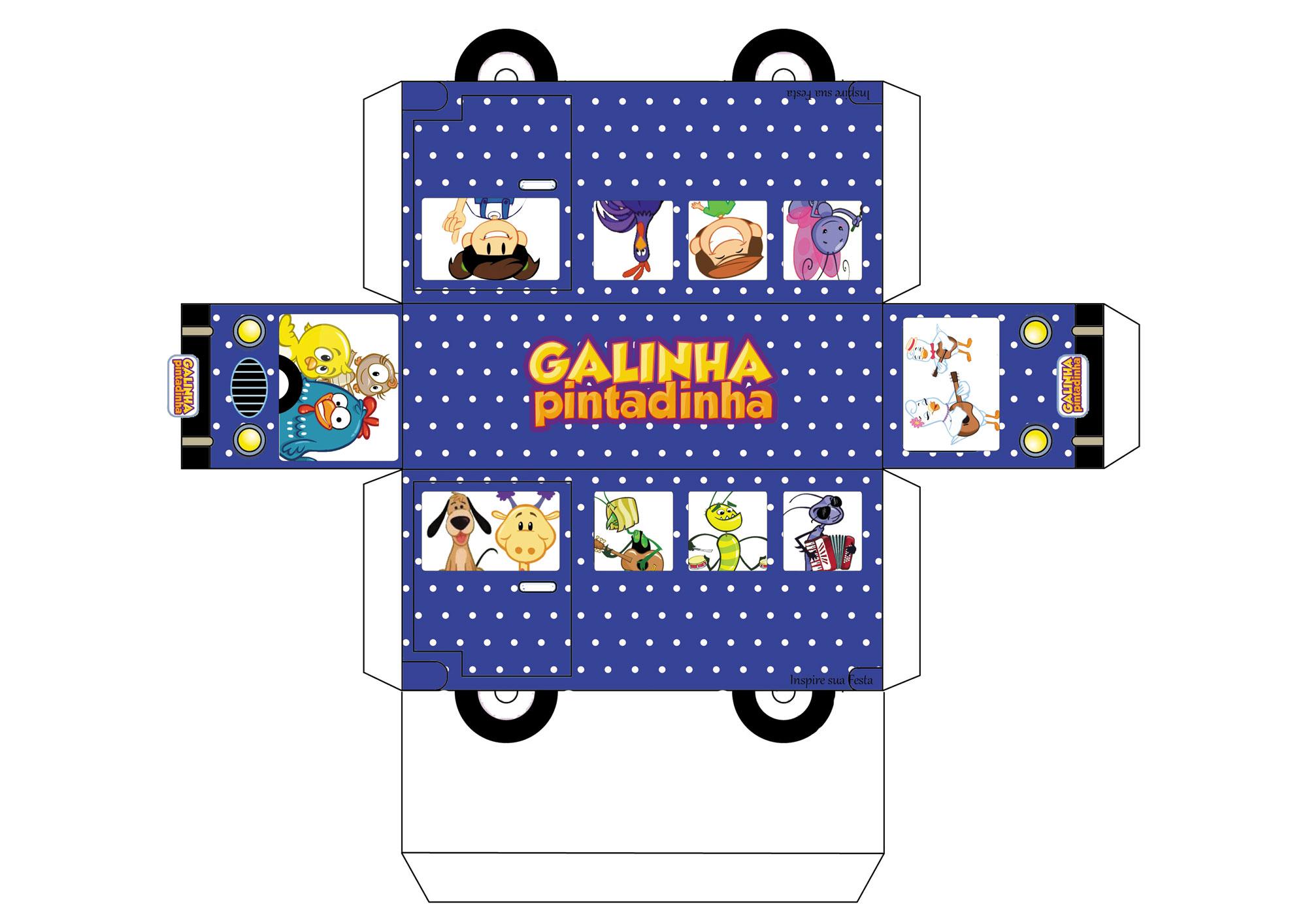 Molde Ônibus da Galinha Pintadinha em 3D