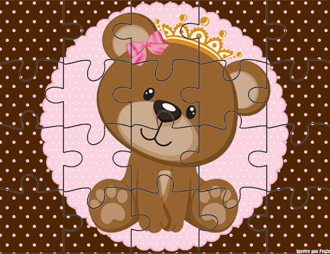 Ursinha Princesa Rosa E Marrom Kit Digital Gratuito Inspire