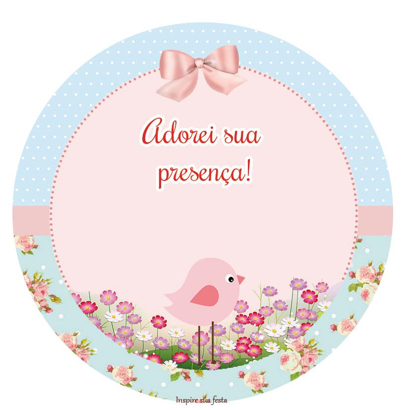 moldura para fotos tema jardim encantado : moldura para fotos tema jardim encantado:http://inspiresuafesta.com/passarinho-provencal-rosa-e-azul-kit