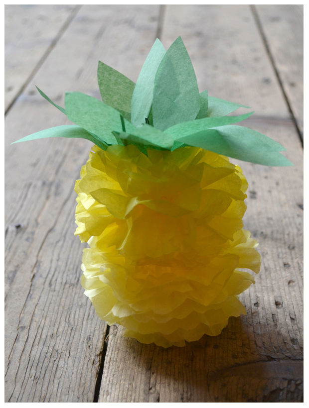 Como fazer abacaxi de papel de seda – PAP