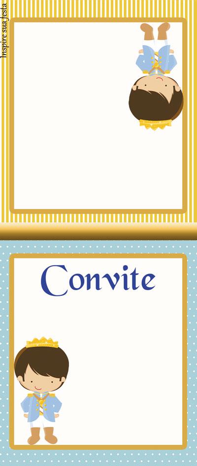Convite pirulito Rei Azul e Dourado
