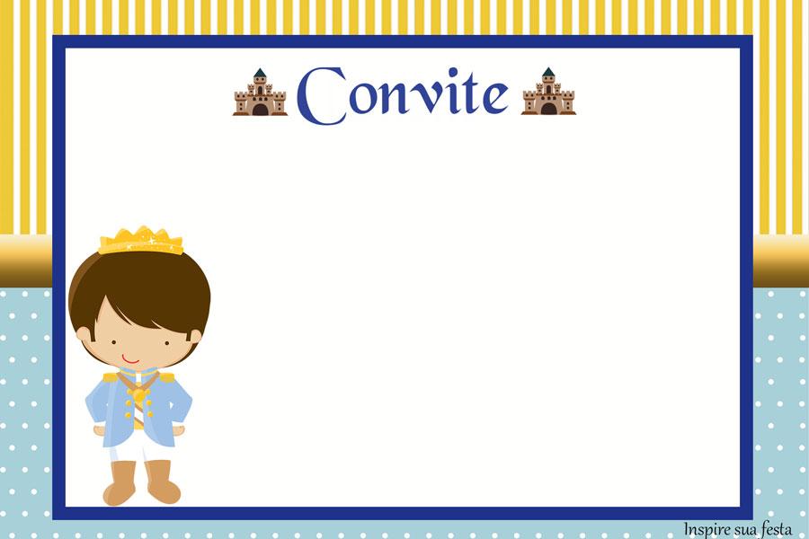 Convite personalizado Rei Azul e Dourado