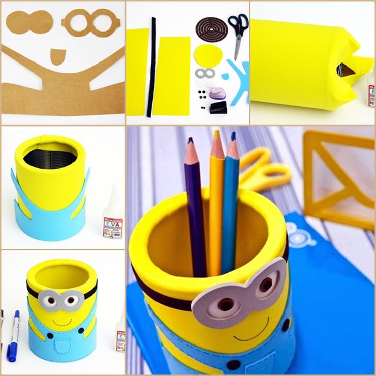 Como fazer porta lápis dos Minions