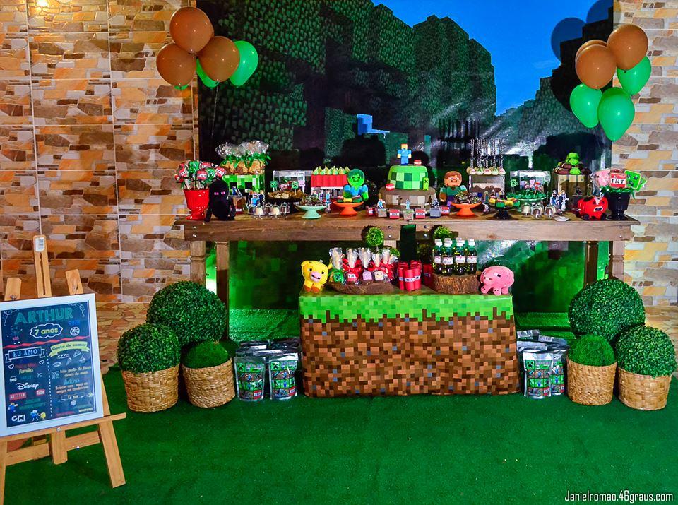 Decoração Minecraft – Festa do meu filho Arthur 7 anos