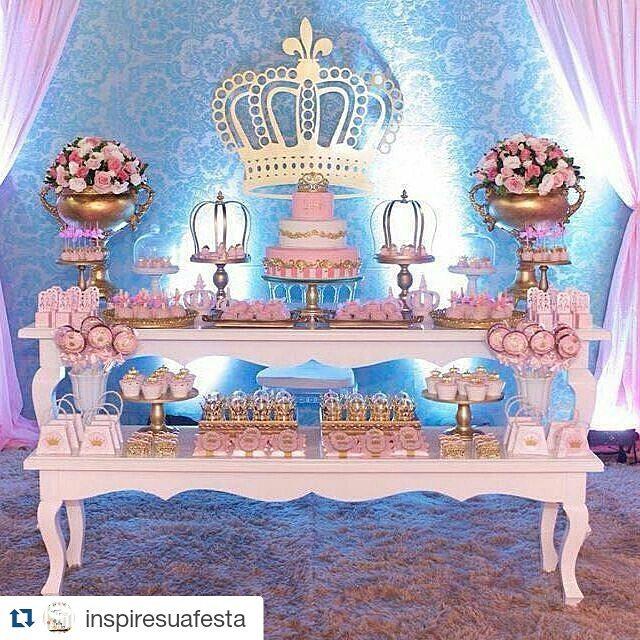 Decoraç u00e3o Princesa Realeza mais de 50 ideias u2013 Inspire sua Festa -> Decoração De Festa Infantil Realeza