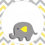 Elefantinho Chevron cinza e amarelo: Kit festa grátis para imprimir