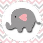 Elefantinho Chevron cinza e rosa: Kit festa grátis para imprimir