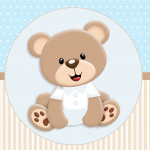 Ursinho Bege com azul: Personalizados gratuitos