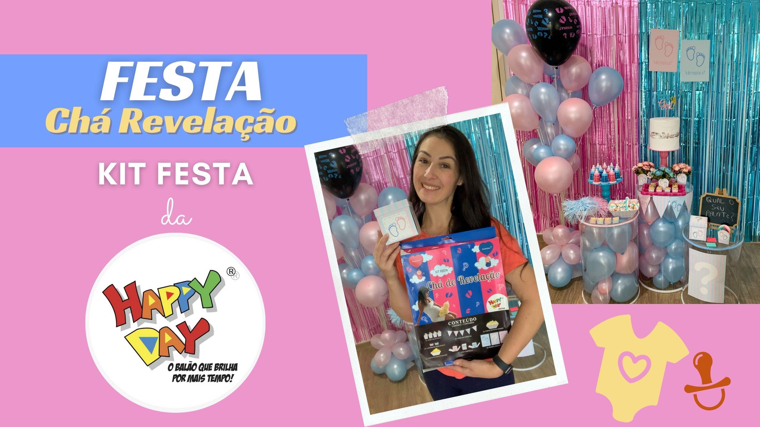 Decoração Chá Revelação com o Kit Festa da Happy Day Balões